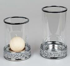 2er Set Windlichter, Kerzenhalter BRILLIANT mit Strass H. 19cm + 22cm  Formano