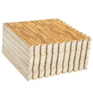 Large Oak Interlocking EVA floor Tiles Gym Mats With Edges Kids Play Rugs 60cm