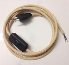 avance de Câble textile 2m Beige 2x0,75 câble alimentation bouchon Interrupteur