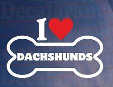 « J'aime/Coeur Dachshunds » Fantaisie Os Voiture/Sticker Camion Idéal pour
