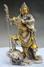 COLLECTIBLE CHINESE MIAO SILVER GILT HANDWORK LIFELIKE GUAN YU STATUE