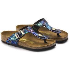 Birkenstock Gizeh Shiny Snake Black Multi Womens Leather Sandals Shoes 7 UK  40 EU 9 US