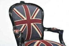 78475a204e Poltrona Barocco Bandiera Inglese UK Union Jack Laccata Nera Stile Luigi  Vintage