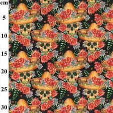 100% Cotton Fabric John Louden Mexican Sombrero Skulls Halloween 150cm Wide
