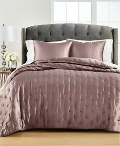 Martha Stewart Collection Tufted Satin Twin Quilt and Sham Collection Mauve NWT