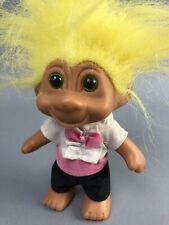"Vintage Troll Doll Green Eyes Yellow Hair Groom Outfit 4"" T. N. T 1991"