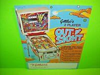 Gottlieb OUT OF SIGHT Original 1974 Retro Flipper Game Pinball Machine Flyer