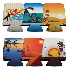 Set of 6 Beach Party Themed Koozies (6 Different Designs)