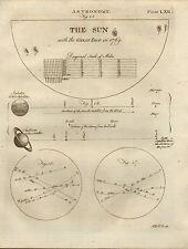1797 impresión georgiano ~ Astronomía el sol con gran lugar en 1769 + satélites