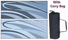 RV PATIO MAT CAMPING OUTDOOR MAT GRAPHIC 8x20-BLACK/GC1