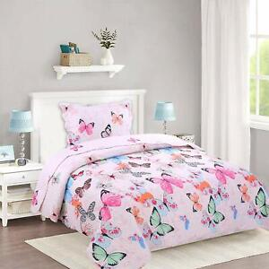 2pcs Kids Quilt Bedspread Comforter Set Throw Blanket for Quilt, A72 Butterfly