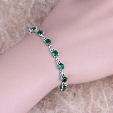Pretty Green Emerald Silver Link Chain Bracelet For Women S0376