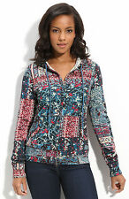 Lucky Brand Size Large Paisley Patchwork Isabella Zip Hoodie Bohemian HIppie