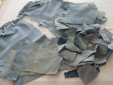 BLUE DENIM MATERIAL, 12.5 OZS OF SMALLER PIECES, GREAT FOR CRAFTS!