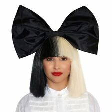Sia Furler costume Wigs Blunt Bangs half black half platinum blonde cosplay Wig