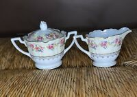 Vintage GOLD CASTLE Hostess Pattern Sugar Bowl with Lid And Creamer Set Japan