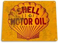 Shell Motor Oil Gas Metal Service Auto Car Shop Garage Rustic Retro Metal Sign