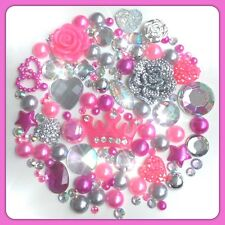 Crown Theme Hot Pink Silver & Aurora Borealis Cabochons Gems Pearls flatbacks #1