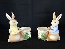 Partylite Bertie & Bea Bunny Rabbit Votive Candle Holder Pair