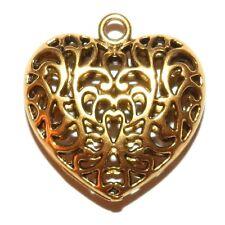MX591p Antiqued Gold 35mm Heart Pendant w Intricate Open Filigree Design 24pc