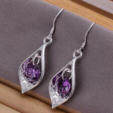Silver Plated Pair of Dangly Dangle Drop Amethyst Hook Earrings 925 Sterling