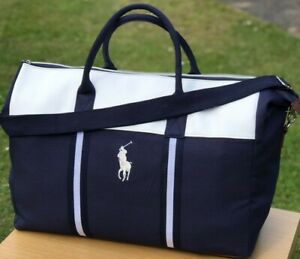 Ralph Lauren Blue and White Duffle Bag / Weekend / Travel / Gym / Holdall