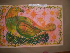 Calvin Livingston  FOLK ART  painting  Bird Paper Juke outsider  artist
