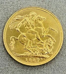 1887 St George Queen Victoria Jubilee Head Full Sovereign Coin 22ct Preloved