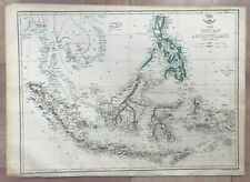 Indonesia Philippines 1863 by Edward Weller Large Antique Engraved Map