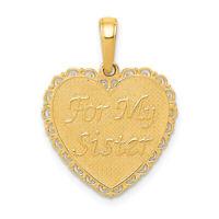 14k Deux-Tone Gold Big Sister mots et Fleur Rose Pendentif en forme de cœur 20x15mm 0.95 g