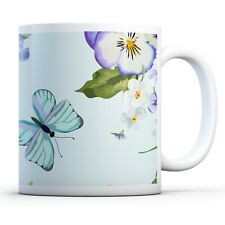 Flowers & Butterflies - Drinks Mug Cup Kitchen Birthday Office Fun Gift #14320