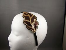 "Brown Gold sequin leaf satin thin skinny headband 3/8"" wide fascinator applique"