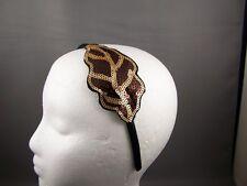 "Brown Gold sequin leaf satin thin skinny headband 3/8"" wide fascinator applique"