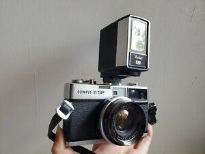 olympus 35mm film camera & Vivitar 135 flash w/cases