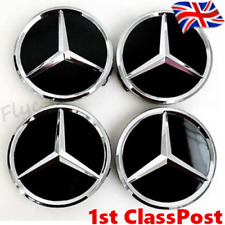 Mercedes Wheel Centre Caps Black 75MM Alloy Hub Badge Emblem Glossy