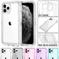 iPhone 11 Pro Max X XS 6 7 8 + Clear Transparent Shockproof Case Cover Belt Clip