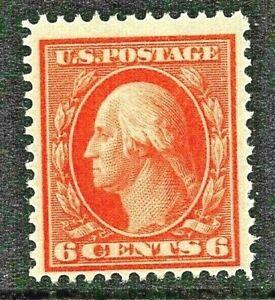 [CA]  US #379 MNH 1911 6c Red-Orange Single Line Wmk Perf 12