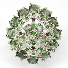 Großer Ring Saphir grün Rubin Tsavorit 925 Silber 585 Weißgold vergoldet Gr. 57