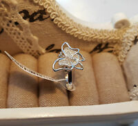 Beautiful AAA Cr Diamond Butterfly Ring in Rhodium over Sterling Silver