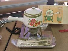 8 pc. Stone Ware Green, White and Floral Fondue Set - New old stock