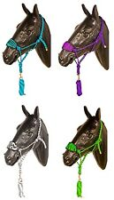 BRONC NYLON HORSE HALTER LEAD ROPE ZEBRA NOSEBAND TRAIL RODEO SHOW TACK WESTERN