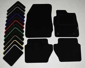 Peugeot 107 (One Fix Driver) 2005-2010 Black Tailored Car Mats COLOURED BINDING