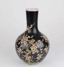 China antique Famille Noire magpie plum vase Qing Kangxi seal