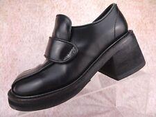 Vtg 90s Muro Black Leather Chunky Platform Punk Club Goth Rave Shoes Uk 6 Us 8