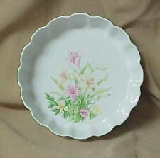 Shafford Jade Lily 9 Inch Porcelain Floral Quiche Baking Dish Pie Tart Casserole