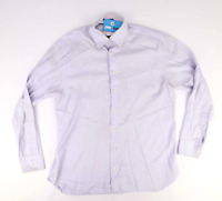 Preworn Mens Size C44 Cotton Striped Blue Formal Shirt