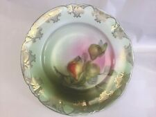 c.a.l.&s. leughtenburg lehman & son  hand painted fruit plate germany gilt pears