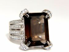 12.00ct Natural Prime Smokey Topaz Diamonds Ring 14kt +