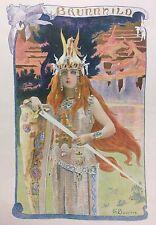 Gaston BUSSIERE (1862-1929) BRUNNHILD 1897 Symbolisme Art Nouveau