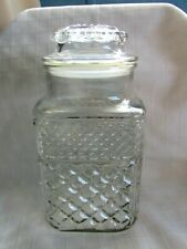 VINTAGE ANCHOR HOCKING CLEAR GLASS CANISTER,VINYL LINED LID